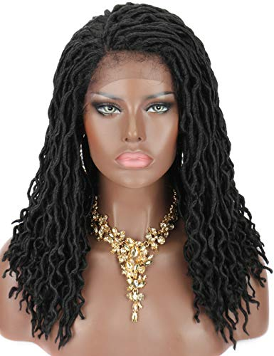 Kalyss Black Synthetic Dread Faux Locs Braids Lace Front Wigs with Baby Hairs Natural Looking Handmade Braid Twist Wigs for Black Women,Bouncy and full Braids