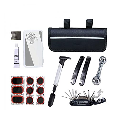 WINBST Juego de reparación de bicicletas multifunción 16 en 1, bolsa de herramientas de bicicleta con bomba Allen llave y palanca de neumáticos para viajar al aire libre camping hogar