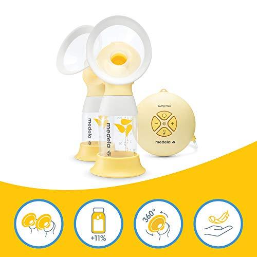 Medela Swing Maxi Flex tiralatte elettrico doppio, tiralatte con imbuto Flex(taglia SyM inclusa) che si adatta alla forma del corpo materno, sistema 2-Phase imita il ritmo di aspirazione del bambino
