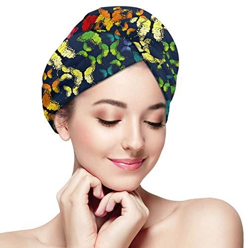 Serviette de séchage de cheveux de papillon d'arc-en-ciel - chapeau sec de cheveux pour des femmes filles