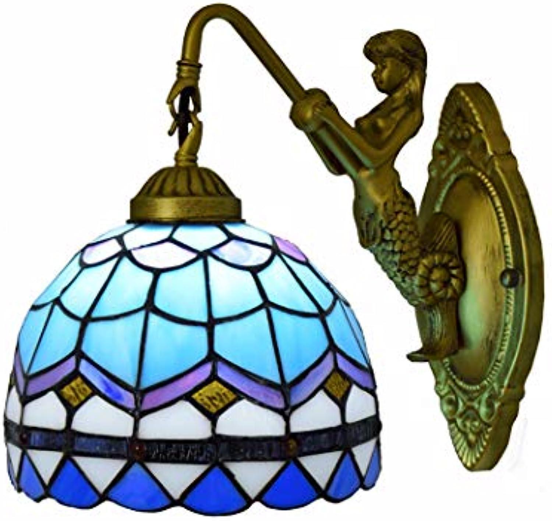 ZIXUAA Nachttisch-Wandlampe, einfache kreative Mittelmeerwandlampe des europischen einzelnen Kopfes, Portalgangbalkonlobby-Wandlampe, Badezimmerrahmen-Wandlampe E27, 110V-240V