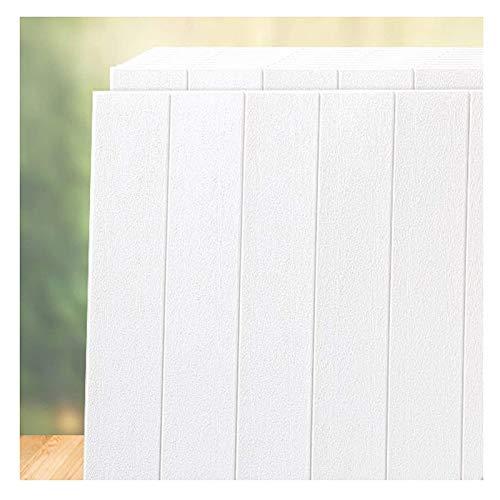 Piedra de Ladrillo Paneles de Pared Autoadhesivos Paneles de grano de madera de patrón 3D Blanco DIY DIY Pegatinas de pared de 3D Adhesivo Panel de adhesivo Mural Papel pintado blanco Auto adhesivo pa
