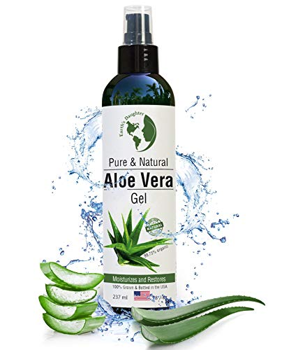 Organic Aloe Vera Gel from 100% Pure and Natural Cold Pressed Aloe - Great for Face - Hair - Acne - Sunburn - Bug Bites - Rashes - Eczema - 8 oz.