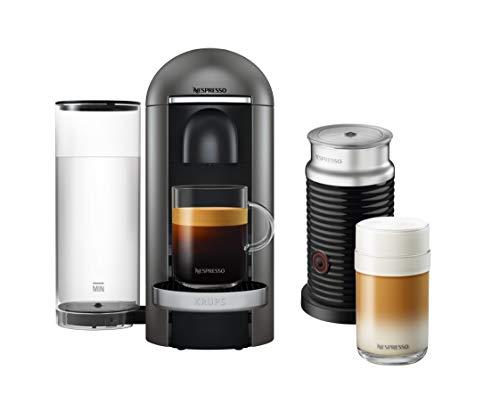 Krups Nespresso XN902T Vertuo Plus inklusive Aeroccino Milchaufschäumer (automatische Kapselerkennung, 1,1 l wassertank, 5 Tassengrößen) titanium