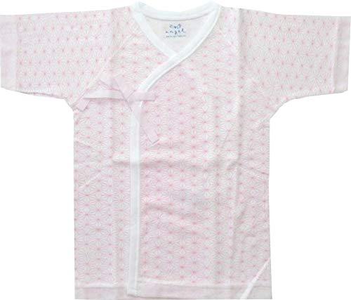 エンゼル 麻の葉柄 プリント短肌着 新生児肌着 日本製 50〜70cm 綿100% 通年素材 (ピンク)