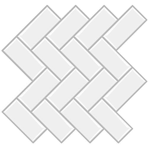 MORCART 12 adhesivos para azulejos, lámina autoadhesiva en 3D, decoración de baldosas, resistente al agua, para cocina, baño, 12 x 12 pulgadas (estilo 04)