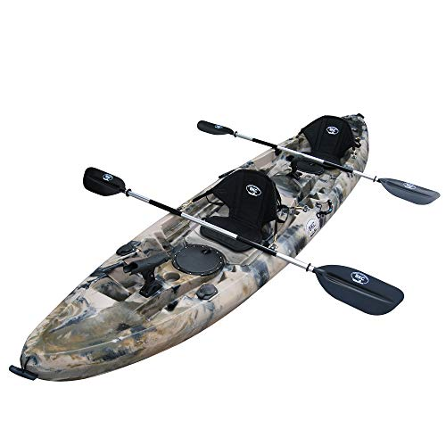 """BKC TK219K 12' 6"""" Tandem 2 or 3 Person SIt On Top Kayak w/Soft Padded Seats"""