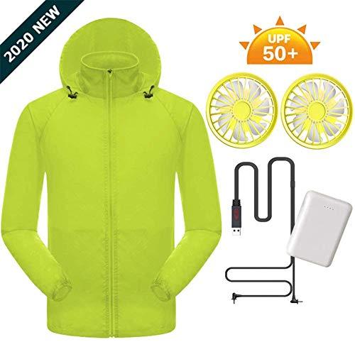 NAMENLOS Air conditionné Vêtements avec 10000mAh Power Bank légère UV été USB résistant Veste de Refroidissement, Sun-Proof pêche Veste d'extérieur Vêtements de Travail Vêtements de Sport,Jaune,XL