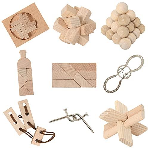 Bartl 111021 9 beliebte Knobelspiele aus Holz und Metall Sortiert im Spar-Knobel-Pack für Erwachsene und Kinder