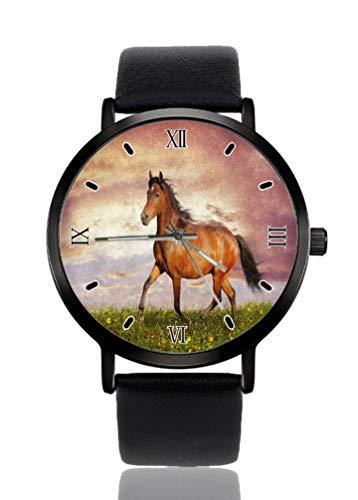 Hermoso marrón caballo prado hierba reloj de pulsera de mujer ultra fino caso extremadamente simple analógico pulsera mujer ultra fino reloj de cuarzo japonés movimiento