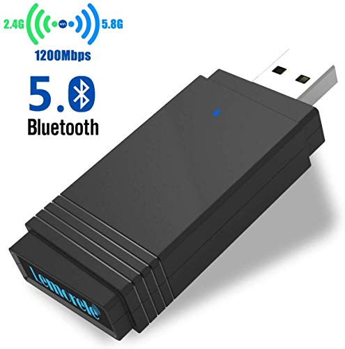 Lemorele Key Adapter USB 3.0 WiFi AC1200Mbps USB Bluetooth 5.0 MU-MIMO 5dBi WiFi Dongle Dual Band 5.8G/2.4G Ultra-Fast for Windows 10/8.1/8/7/XP, Linux, Mac OS, Xbox/PS4/NS Controller