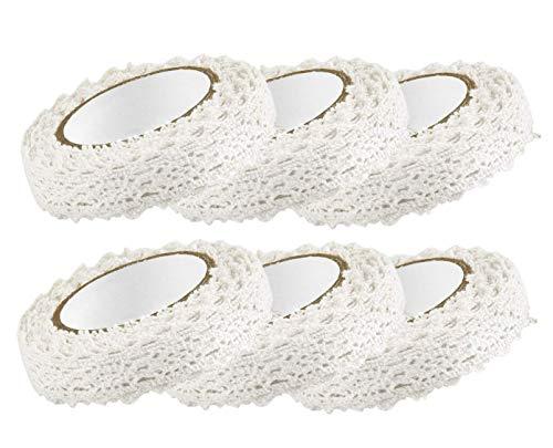 Spitzenband Selbstklebende Spitze Weiss Vintage Set Gesamt 6 Rolls Zum Nähen Für Hochzeit Tischdeko DIY Basteln Geschenkband (weiß)