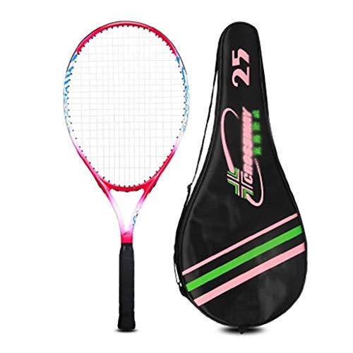 Raquetas De Tenis Para Niños Raqueta De Práctica para Principiantes Integrada De Compuesto De Carbono (Color : Red, Size : 25 Inches)