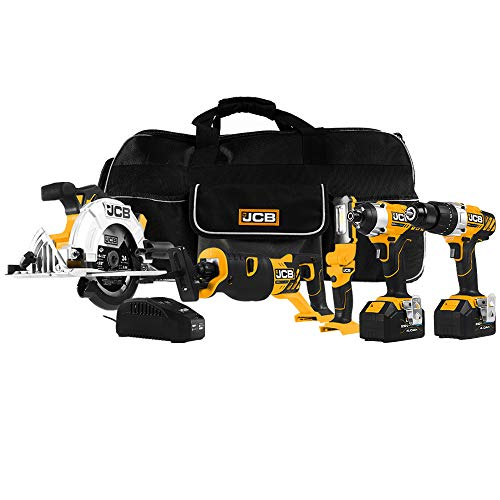 JCB Tools - 20V, 5-Piece Power Tool Kit - Hammer Drill Driver, Impact Driver, Reciprocating Saw, Circular Saw, LED Work Flashlight, 2 x 4.0Ah Batteries, Fast Charger And Tool Bag
