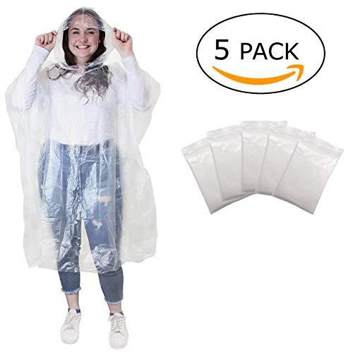 Regenponcho - wegwerp poncho met capuchon- regen poncho voor dames, heren en kinderen - transparant, plastic en waterdicht voor festival, concert, camping, fiets, wandelen - 5 stuks