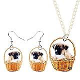 WJCRYPD Acrylique Panier Carlier Chien Collier Boucle d'oreille Set Bijoux Mignon Animal Animal Fille Fille Fille Cadeau Charme Cadeau Accessoires Qf Shop (Color : 1)