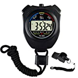 Feiyasi Digital Stopwatch Timer, for Basketball, Soccer, Boxing, Shot, Referee,Swim, Workout, Sport, Sports Match, Training, Timing-Including Whistle (Black-1 Laps)