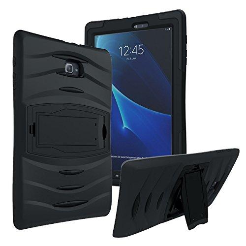 KIQ Galaxy Tab A 8.0 2015 T350 Case, Full-Body Shockproof Military Heavy Duty Case Cover Screen Protector Stand Samsung Galaxy Tab A 8.0 SM-T350 SM-T355 (2015) (Armor Black)