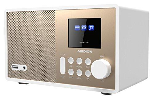Medion E85059 MD 87559 WLAN-Internetradio (6 cm (2,4 Zoll) TFT Farb-Display, 40 Speicherplätze, Holzgehäuse, USB, AUX) Gold/weiß