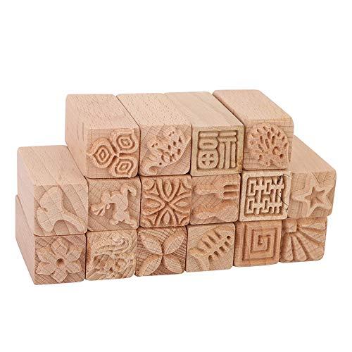 Sello de cerámica de arcilla de madera, 16 piezas Herramientas de cerámica Sellos Sello decorativo de arcilla Sellos tallados a mano Haya DIY Bloques de impresión de cerámica de arcilla Accesorios art