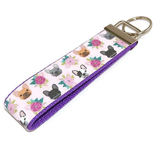 French Bulldog Keychain Fabric Wristlet Key Fob