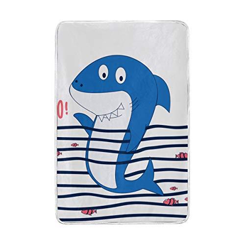 VICAFUCI Mantas de vellón de Franela Suave y esponjosa,Mano Drawg Tiburón Ilustración Vector PRT,Manta cálida para sofá Cama Sofá de Viaje Ligero para Acampar,152 * 229cm
