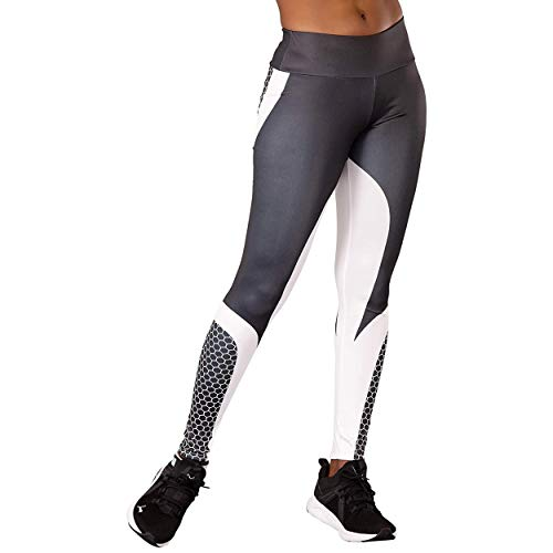 Glook Leggings de Cintura Alta para Mujer | Leggings elásticos con Control de Abdomen sin Costuras para Gimnasia Deportiva | Leggings Deportivos encantadores para Mujer | Blanco Negro, Tamaño: 38