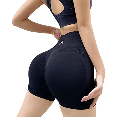 MoccyBabeLee Pantalones cortos de entrenamiento para mujer, para yoga, levantamiento de glúteos, cintura alta, leggings TIK TOK