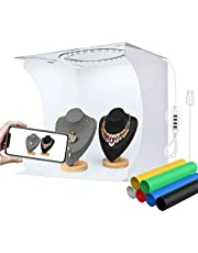 YOTTO Fotostudio ljustält 33 x 31 x 31 cm bärbar vikbar fotografi skyttält fotobox sats med 3 200 k-6500 k dimbar 80 LED belysning 6 bakgrunder (vit, svart, gul, grön, blå, röd)