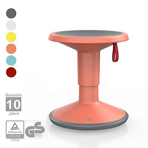 Interstuhl UPis1 Junior für Kinder - ergonomischer Sitzhocker – Premium Hocker höhenverstellbar und drehbar - Drehhocker für rückenfreundliches Sitzen (Junior Edition, Lachsorange)