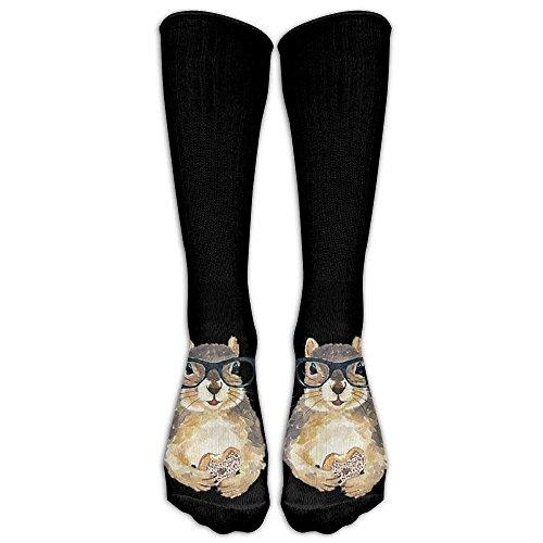 Daisylove Style Unisex Socken Casual Kniestrümpfe Nerdy Eichhörnchen mit Glas Baumwolle Socken Einheitsgröße