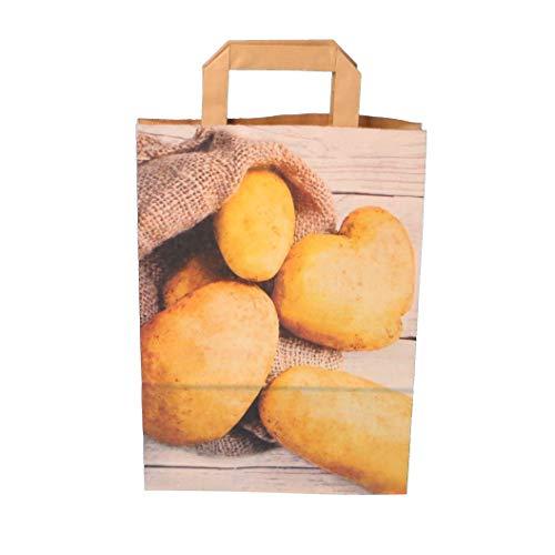 250 Papiertragetaschen Kartoffeltragetaschen Papiertüten für Kartoffeln KRAFT 90g/m² modernes Kartoffelmotiv verschiedene Größen zur Auswahl - Inkl. Verpackungslizenz in D (22+10x36cm)