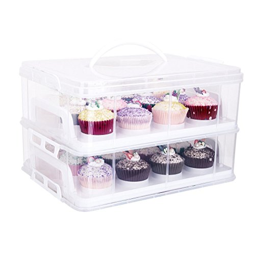 hblife 2 Etagen Kuchentransportbehälter 24 Cupcakes Behälter Tragbarer Transportbox für Kuchen, Cookies, Torten