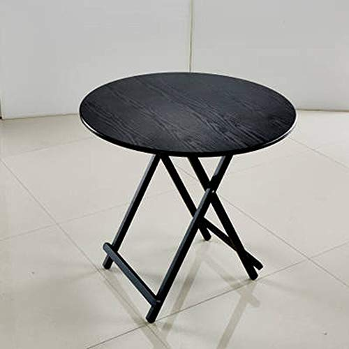 HJCA Klaptafel, inklapbaar, tafel – klein draagbaar, voor thuisgebruik – ronde tafel – 60 x 60 x 55 cm, zwart/bl