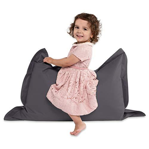 Green Bean © BeBi Mini Sitzsack 100x70 cm - 70 Liter EPS Perlen Füllung - PVC Bezug - Indoor & Outdoor Beanbag für Kinder - Sitzkissen Bean Bag Bodenkissen - Kindersitzsack Stuhl - Anthrazit