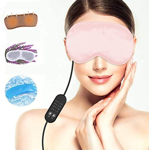 Heated Eye mask Lavender Sleeping Masks for Fatigue Men Women, Warming Night Massage Mask, Electric Heating Aceoce Portable Comfort Relieving Insomnia Blepharitis Puffines(Pink)