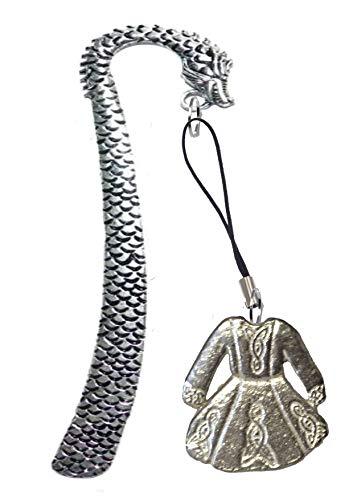 Derbyshire UK FT64 - Vestito da solo per danza celtica, 3 x 3 cm, realizzato in peltro inglese su un segnalibro con drago