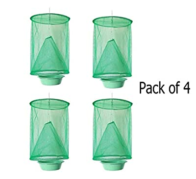Jwn Ranch Fly Trap Flay Catcher with Pots-New Fly Fishing Apparatus for Indoor or Outdoor Family Farms, Park, Restaurants (4 packs, 24 x 33cm)