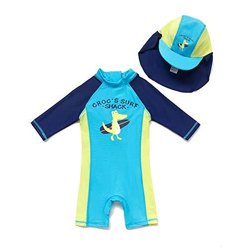 BONVERANO - Traje de baño para bebé de 3 4 de Manga Larga con protección UV 50+ con Cremallera Blau-kdinosaurier 62 cm-68 cm