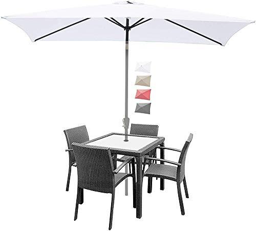 YRRA 9.8x6.5 pies Cubierta de Paraguas de Repuesto Mercado de la Cubierta del Paraguas Top de Paraguas al Aire Libre con 6 Costillas (Solo con Dosel)-Blanco