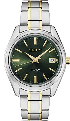 Seiko Reloj de titanio de dos tonos con esfera verde SUR377 para hombre