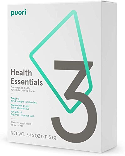 Puori - 3 - Health Essentials Daily Serving Packs with O3 Fish Oil, Vitamin D3, And M3 Magnesium (30 Day Supply)