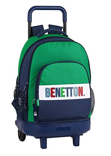 Safta Mochila Escolar con Carro Incluido y Espalada Acolchada de Benetton, Multicolor (Benetton 1965)
