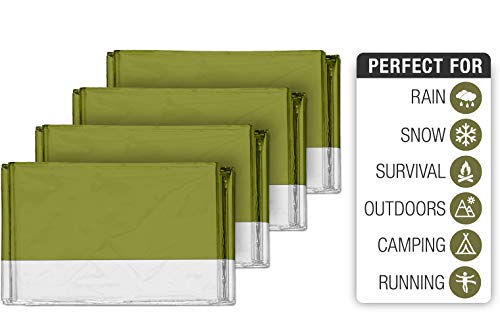 Swiss Safe Emergency Mylar Thermal Blankets + Bonus Gold Foil Space Blanket. Designed for NASA, Outdoors, Survival, First Aid, Army Green, 4 Pack