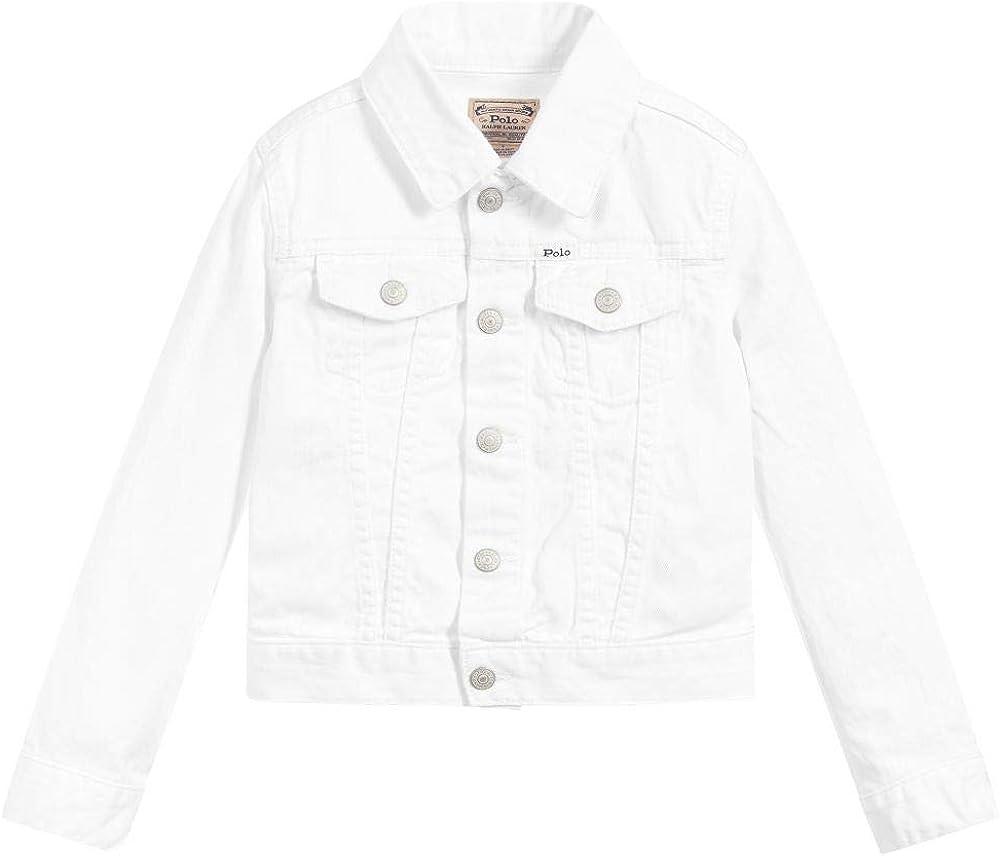 Ralph Lauren Polo Girls Cotton Denim Trucker Jacket (6) White