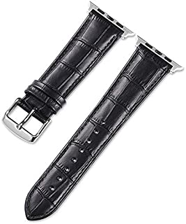 For Apple watch 42/44mm leather band, Crocodile Texture Leather Strap Wristband Replacement Compatible for iWatch 44mm/42m...