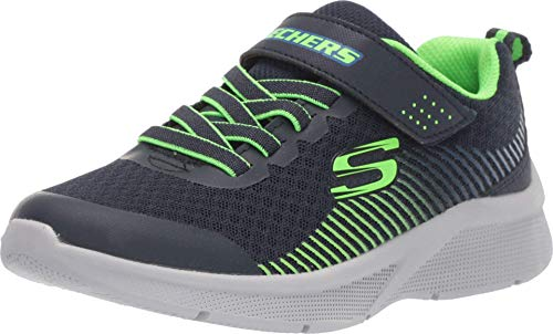 Skechers Jungen MICROSPEC Sneaker, Blau Marineblau Textil Limettenblau Besatz Nvlm, 32 EU