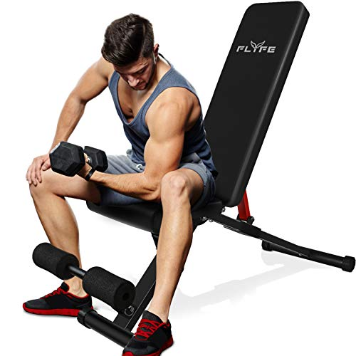FLYFE Weight Bench Foldable Workout Bench for Full Body Workout Incline Decline Adjustable Weight Bench for Home Gym Strength Training with 10 Position Adjustments