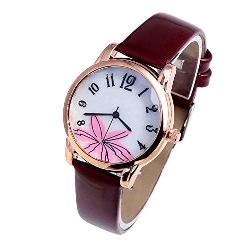 OLUYNG Armbanduhr Neue Damen Kleine Uhr Platte Gürtel Uhr Mode Blume Malen Haut Studenten Freizeit Außenhandel Uhr Schnaps Rot