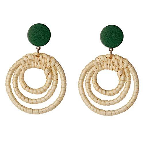 DONGLU Bastón de bambú Trenzado Hueco de los Pendientes de los Ornamentos geométricos (Color : 1#, Tamaño : A)